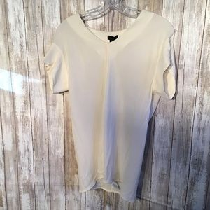 Theory 100% silk off white short sleeve top